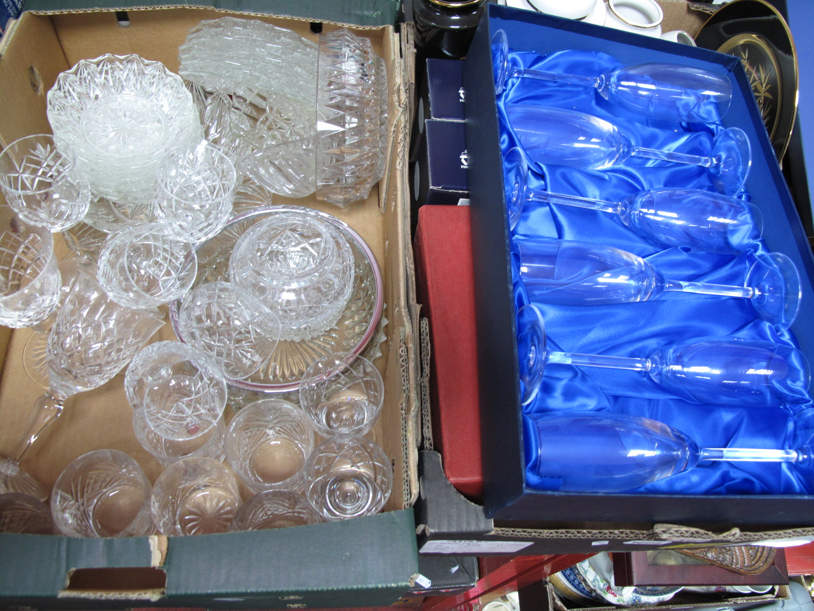 Lot 1008 - A Worcester Gilt Tea Set, Chokin ware, Devon trinket box, glassware, boxed Bohemia champagne,