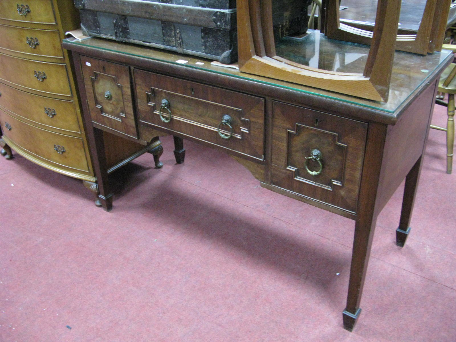 Lot 1517 - A XIX Century Mahogany Sideboard, with brass lion mask handles to single drawer and flanking
