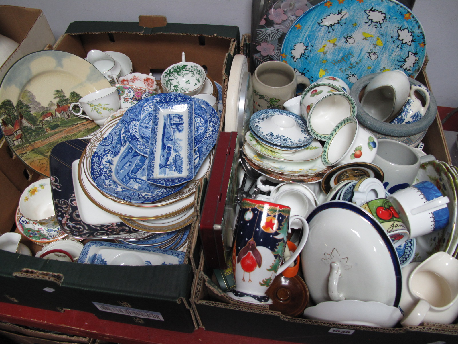 Lot 1038 - Spode, Doulton, Villeroy & Boch and Other Ceramics, clock, etc:- Two Boxes