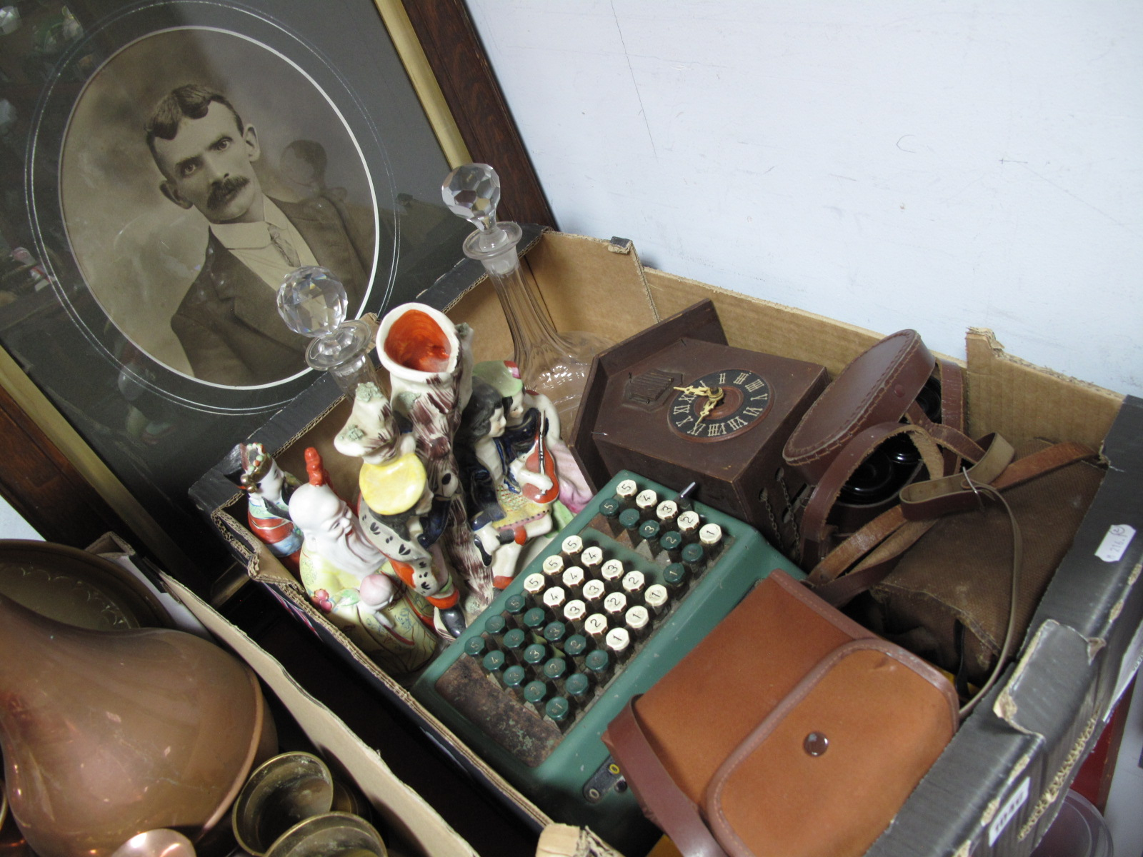 Lot 1040 - Box Brownie's, binoculars, adding machine, glass spirit decanters, Staffordshire flatback spill