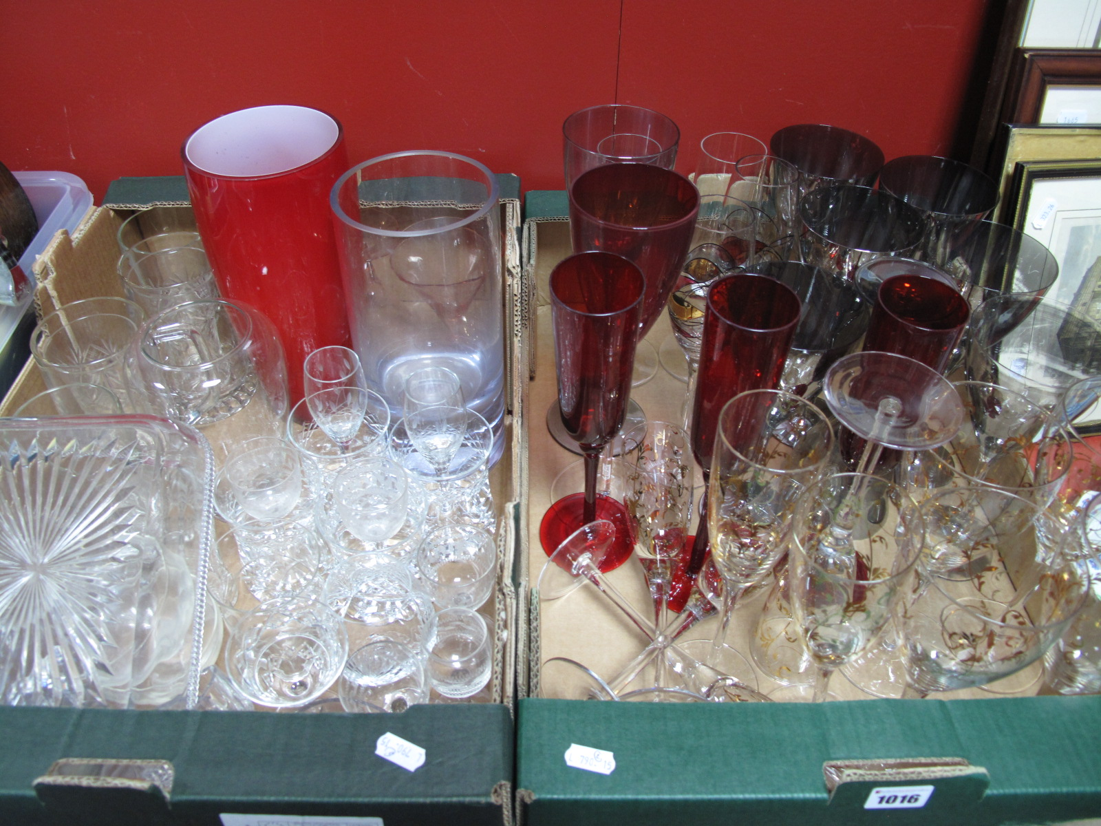 Lot 1016 - A Quantity of Drinking Glasses, vases, tankards:- Two Boxes