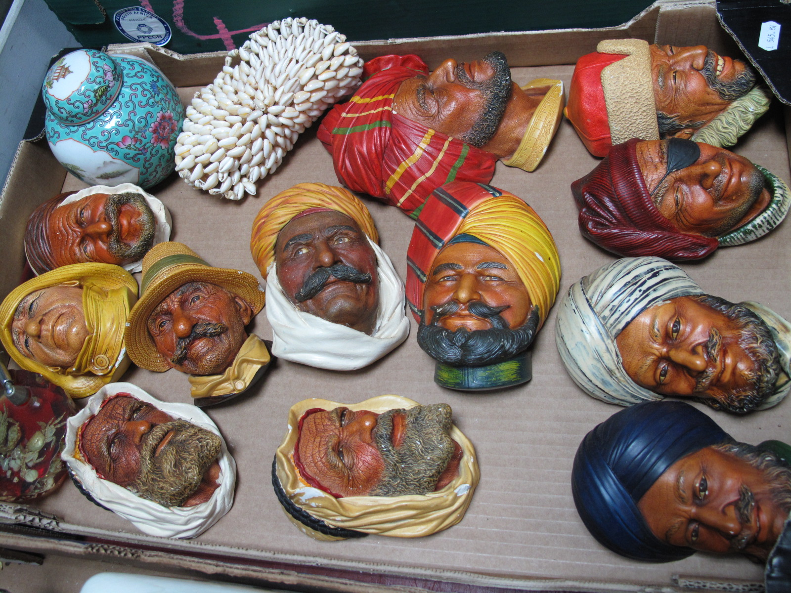 Lot 1053 - Twelve Bosson's and Other Masks, Chinese ginger jar, etc:- One Box
