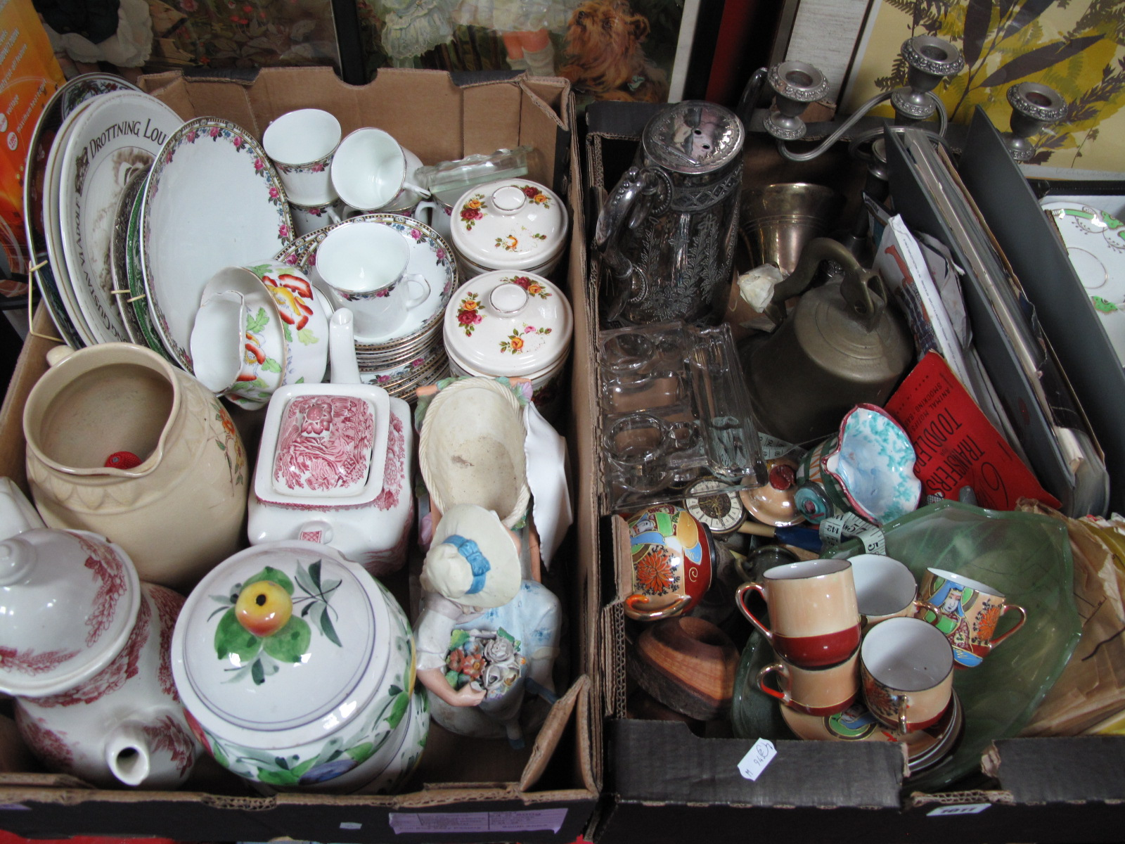 Lot 1011 - Brass Bells, knitting patterns, plated coffee pot, desk stand, quantity of china, pottery etc:-