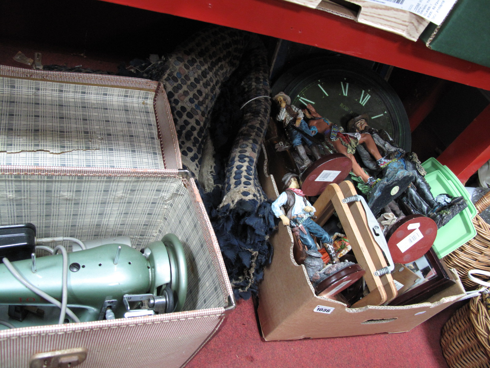 Lot 1036 - A Lava Lamp, Embee picnic trays, clocks, chess, leaded light, resin cowboys and indians including,