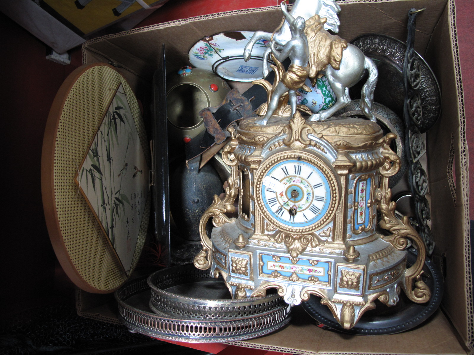 Lot 1026 - A XIX Century Painted Spelter Clock, with painted porcelain panels, metal ware, etc:- One Box
