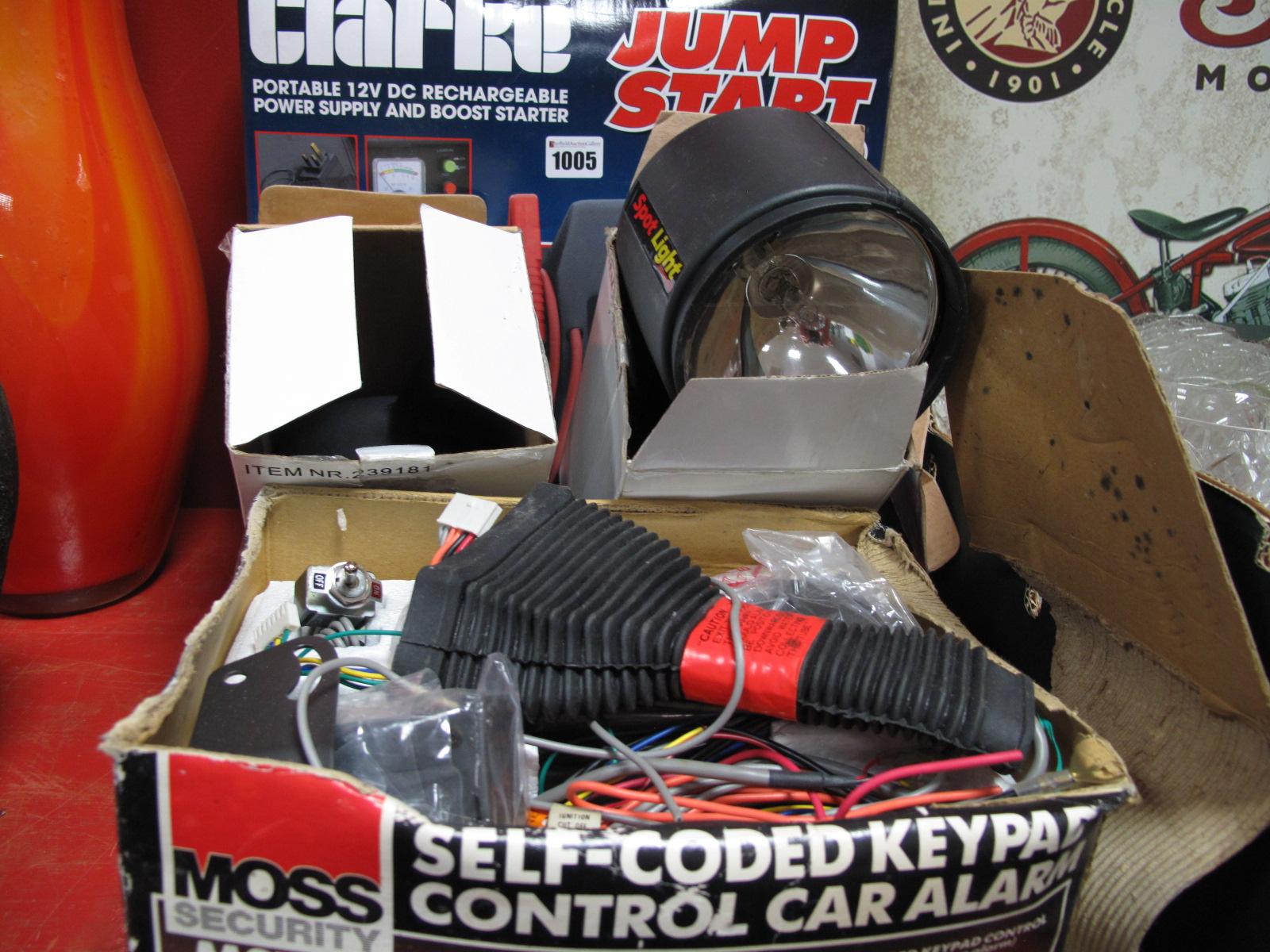 Lot 1005 - A Clarke Jump Start 900 Set, car alarm, spot lights.
