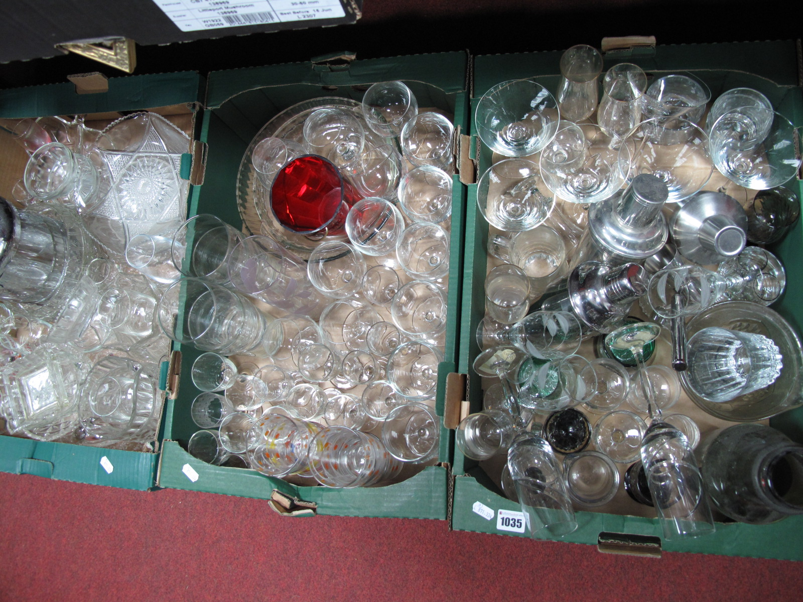 Lot 1035 - Wine Glasses, champagnes flutes, ice bucket, cocktail shakes etc:- Three Boxes