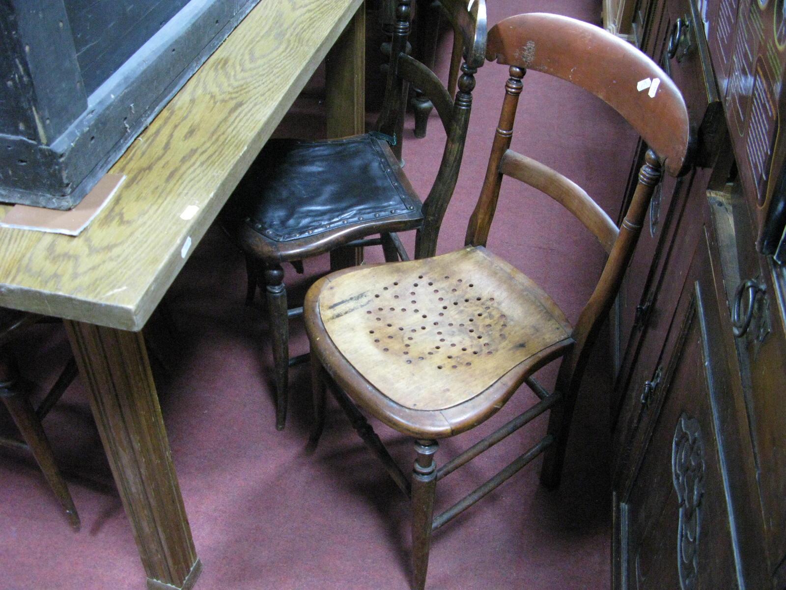 Lot 1481 - Four Late XIX Century Oak Back Bedroom Chairs.