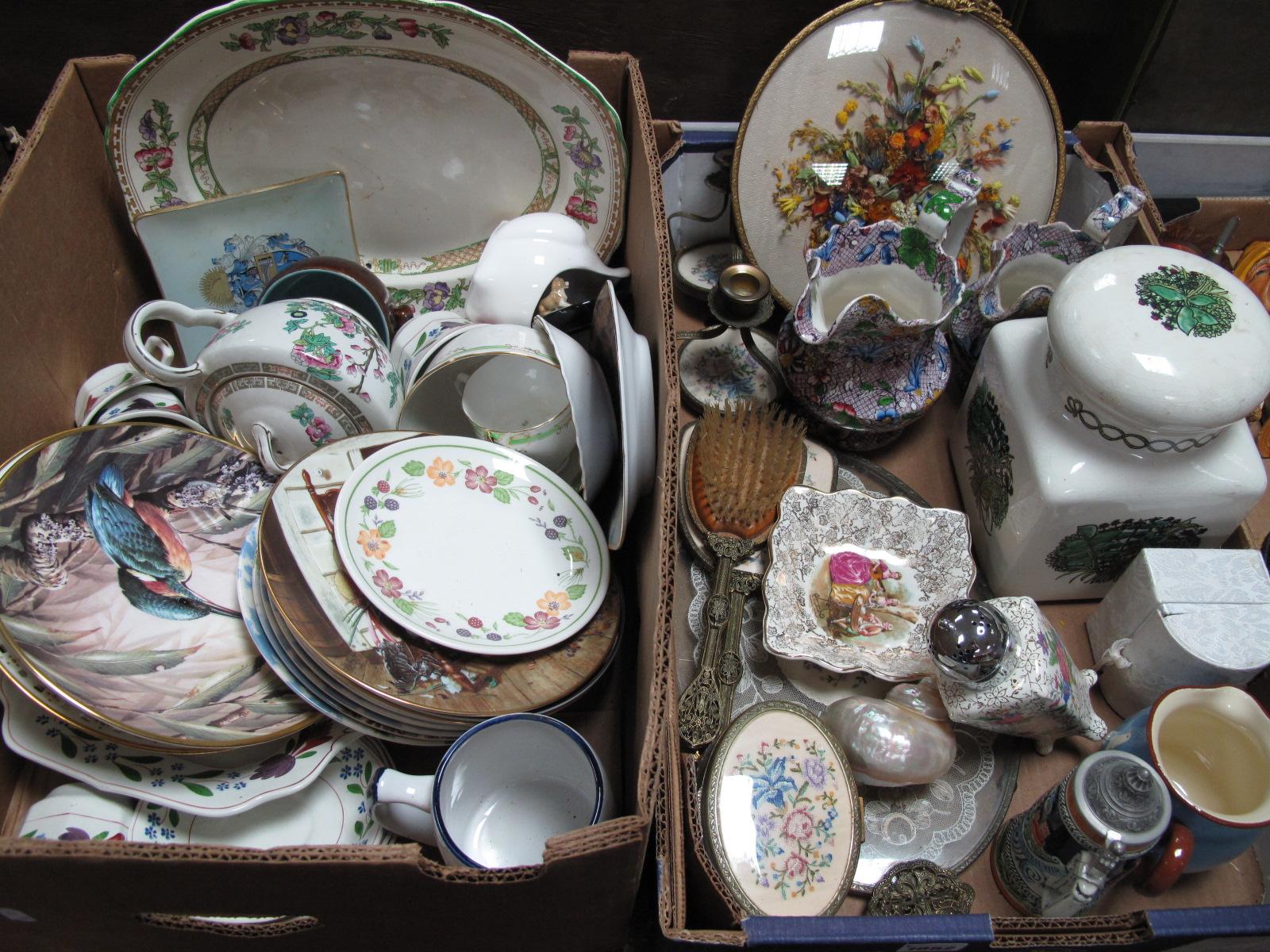 Lot 1052 - A Taunton Vale Kitchen Jar, XIX Century jugs, Midwinter sugar castor, etc:- Two Boxes