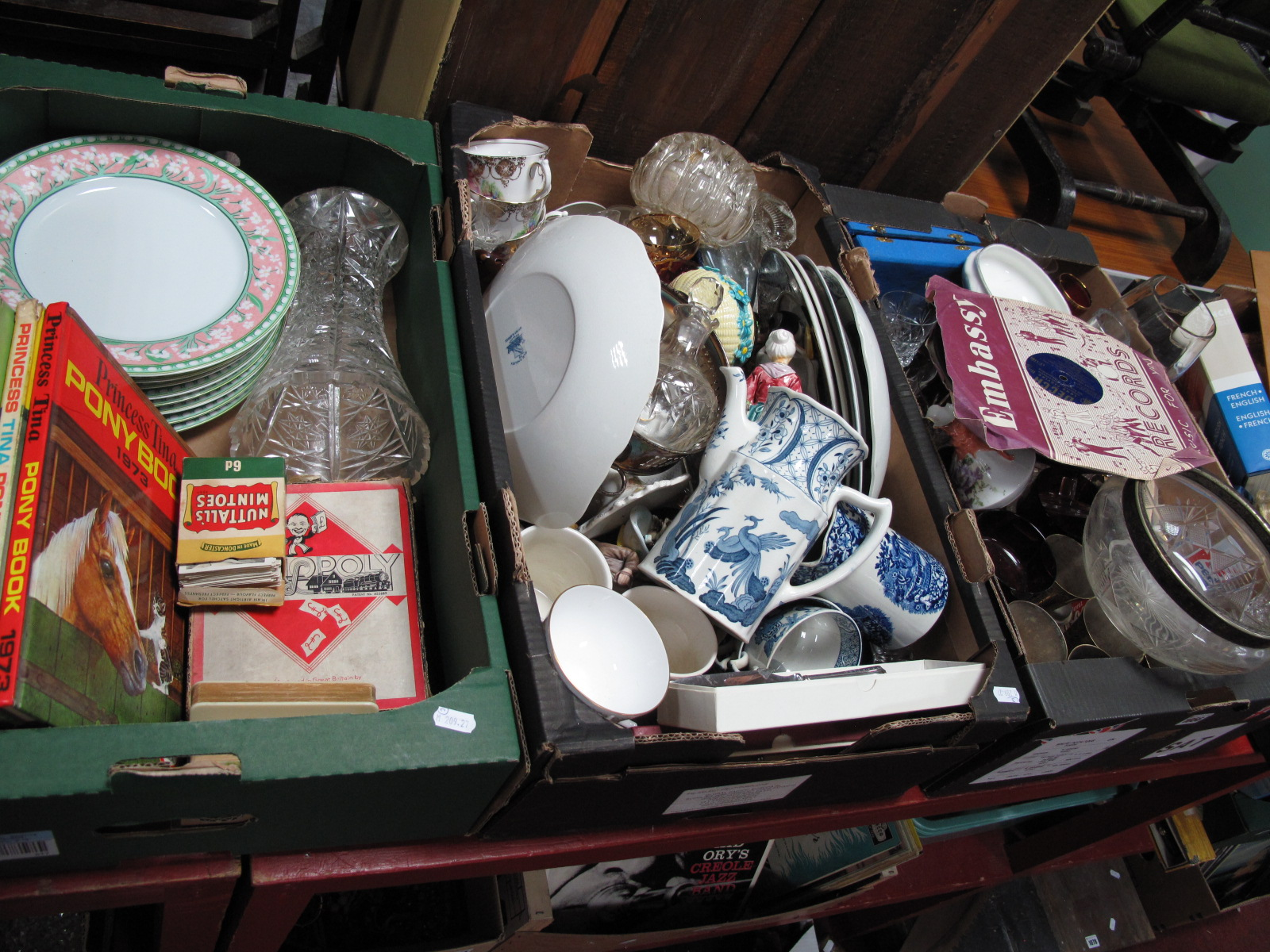Lot 1056 - Blue and White Dishes, glassware, sundae dishes, books, etc:- Three Boxes