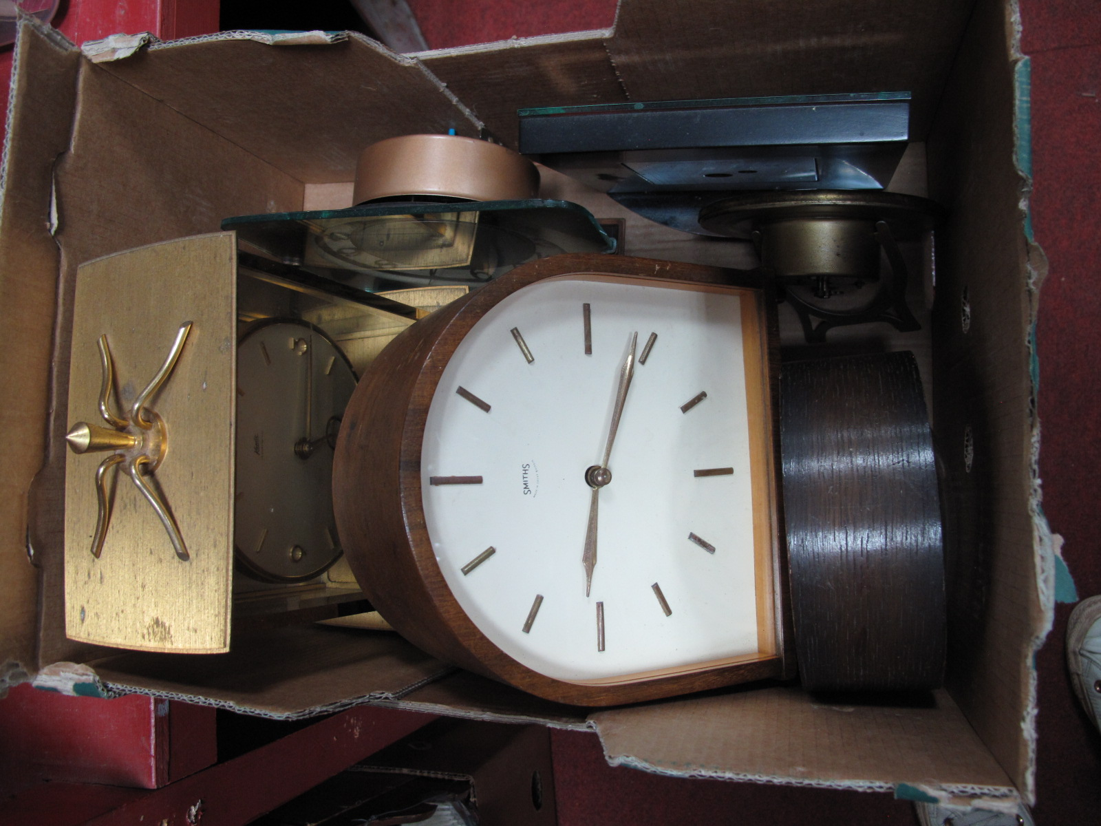 Lot 1042 - A 1960's Smith's Mantel Clock, Kundo (German) wall clock, Smith's Sectric mantel clock, other