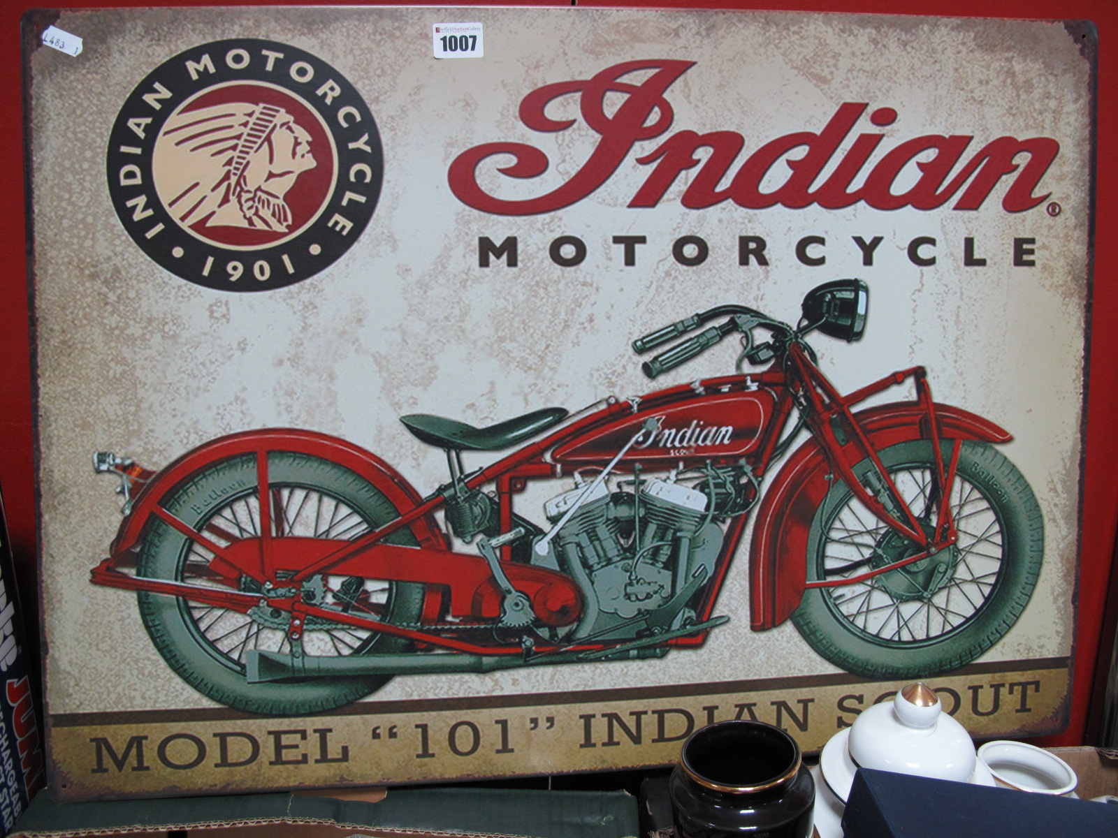 Lot 1007 - An Indian Motorcycle Metal Sign, 50 x 70cm.