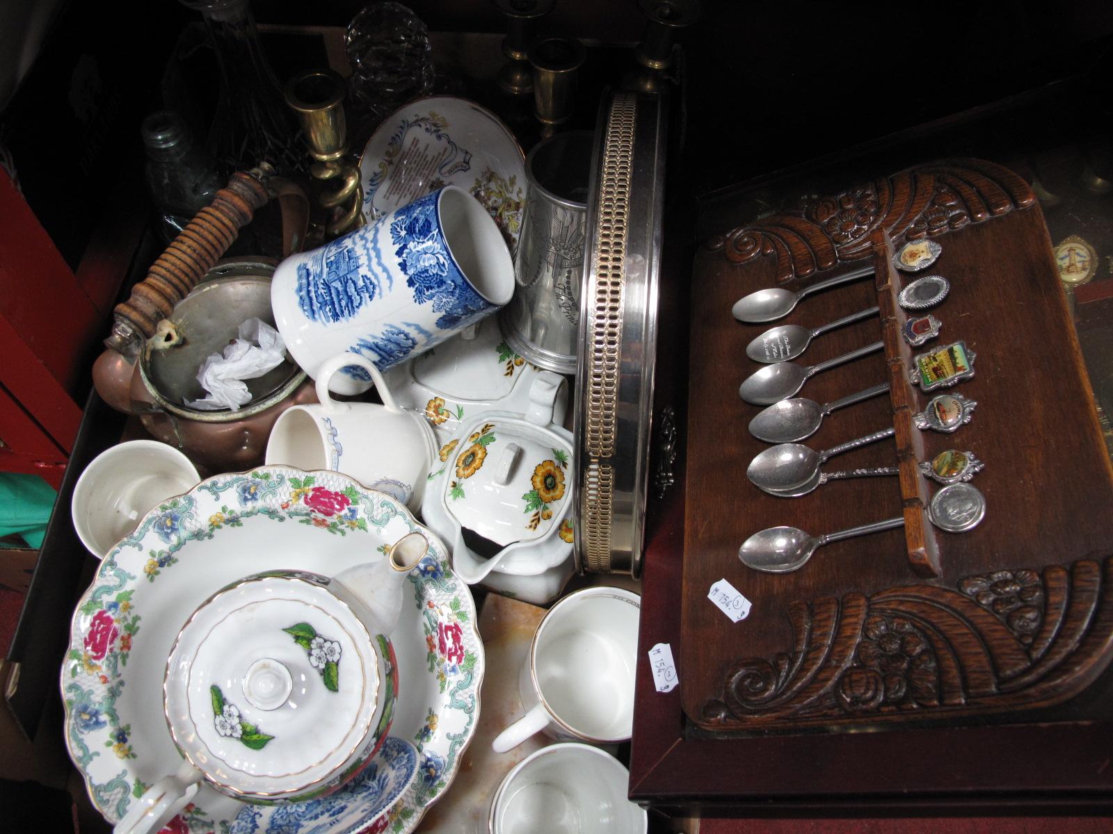 Lot 1023 - Teapots, plates, decanters, brass candlesticks, copper kettle, commemorative ware etc:- One Box plus