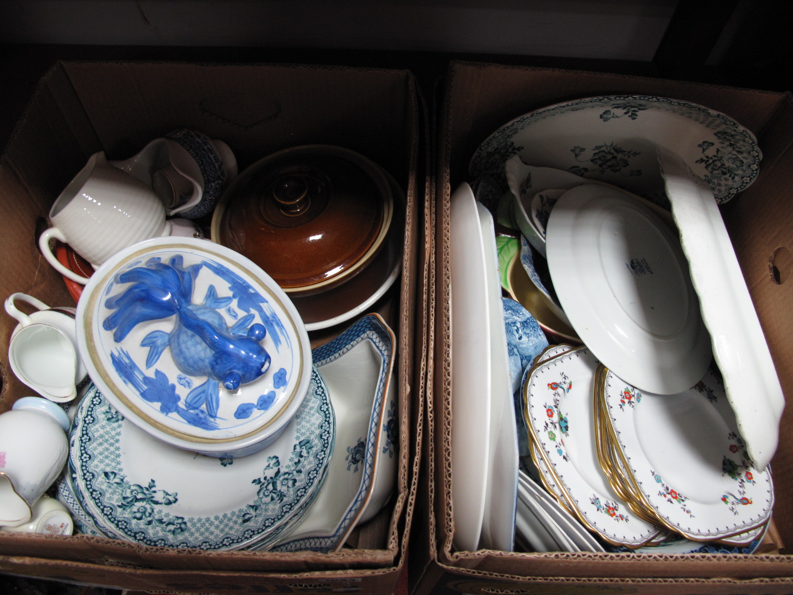 Lot 1044 - Tuscan Plant, Yuan, Willow Pattern and Other Plates, casseroles, etc:- Two Boxes