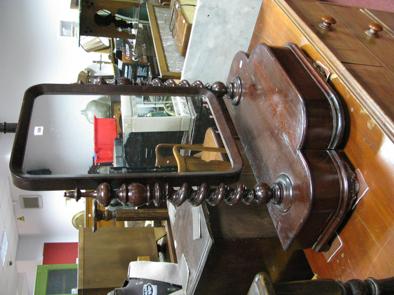 Lot 1496 - A XIX Century Mahogany Dressing Mirror, with single lift-up compartment to breakfront, barley