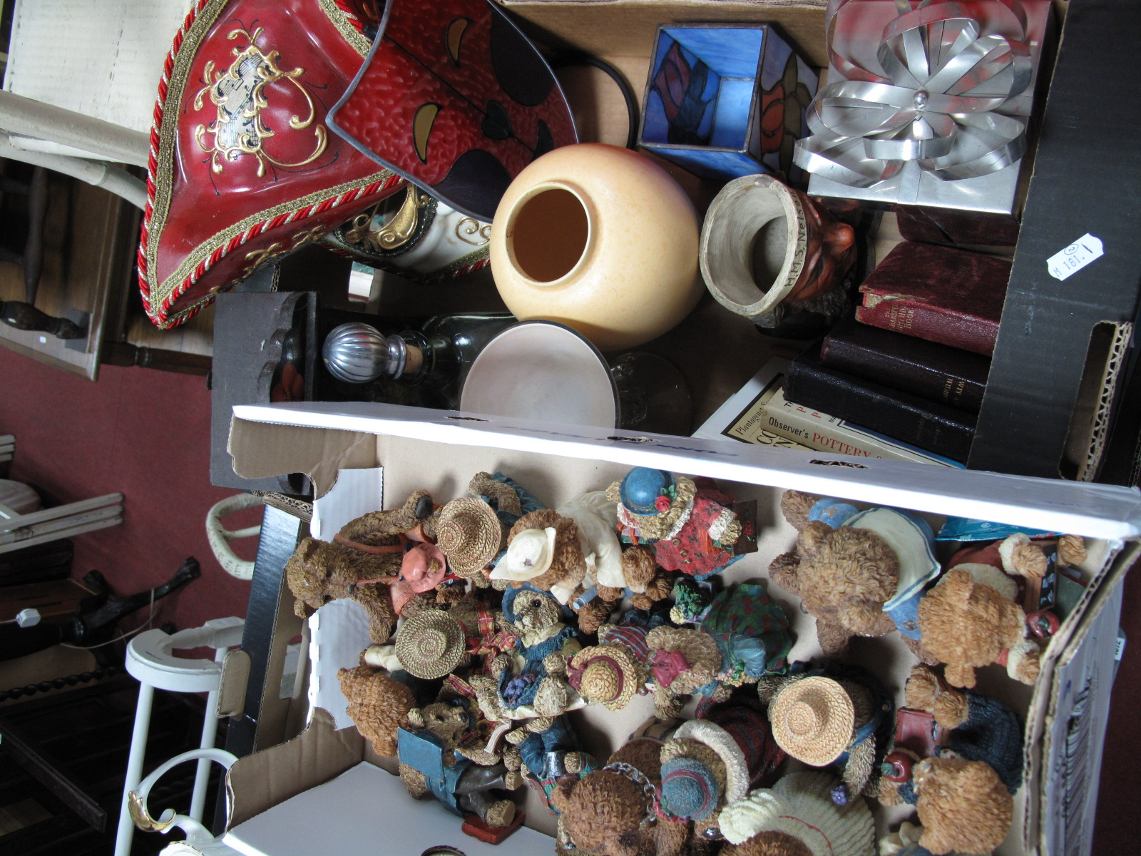 Lot 1050 - Resin Figures, collectors books, Poole vase, theatre themed lamp shades, Nelson jar etc:- Two Boxes