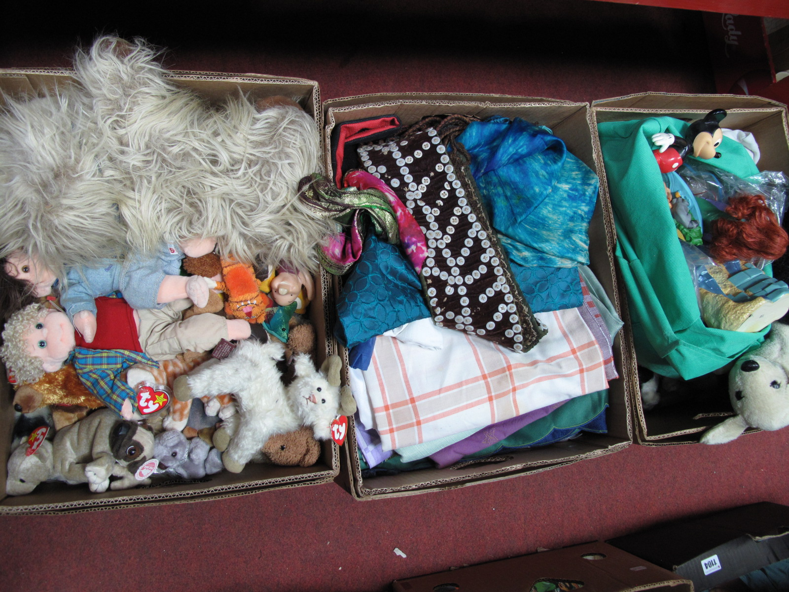 Lot 1030 - Soft Toys, linens, TY Beanies, etc:- Three Boxes