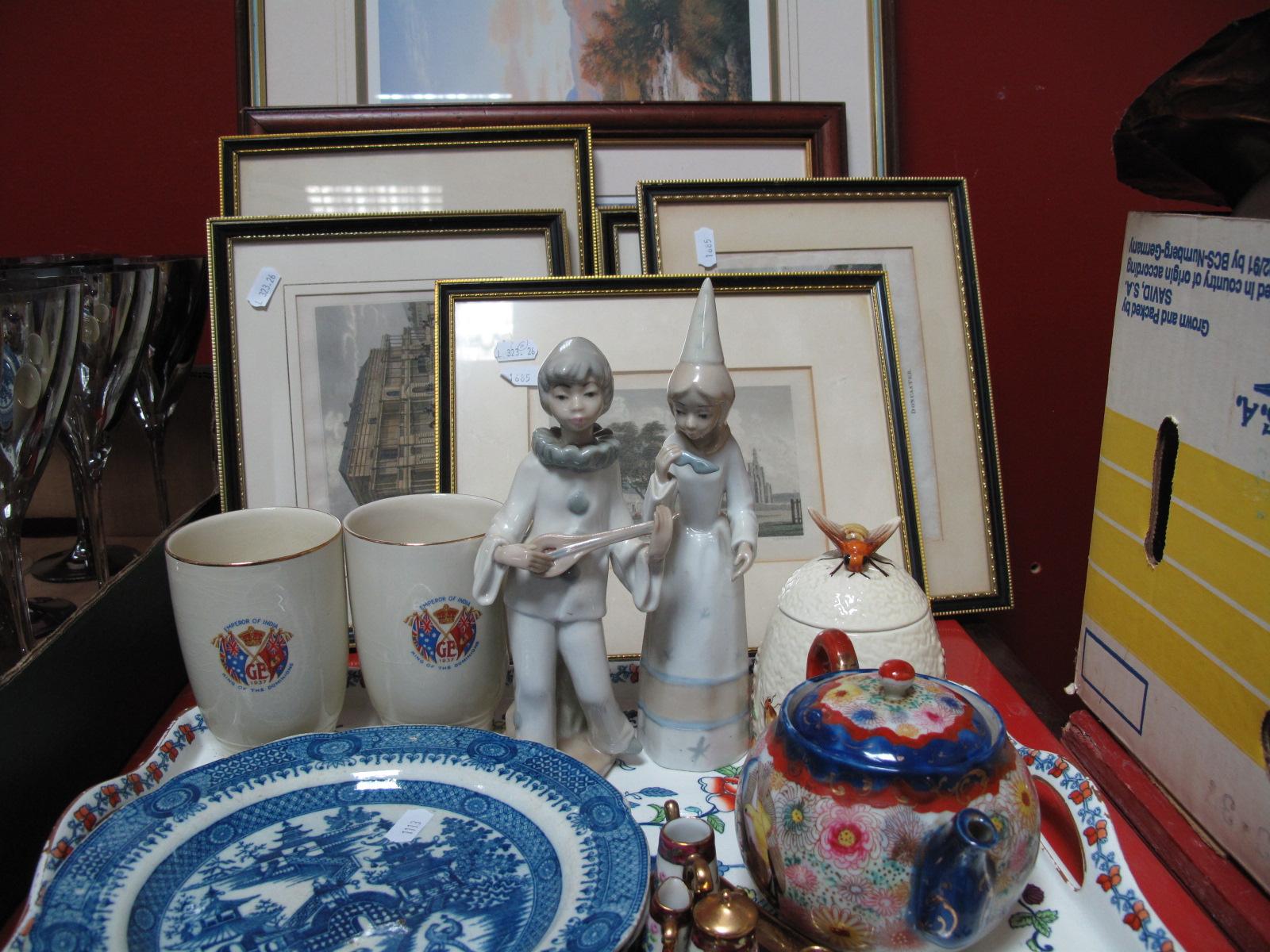 Lot 1017 - Booths 'Pompadour' Tray, Spanish figurines, jam pot, Limoges miniature tea for two, XIX Century