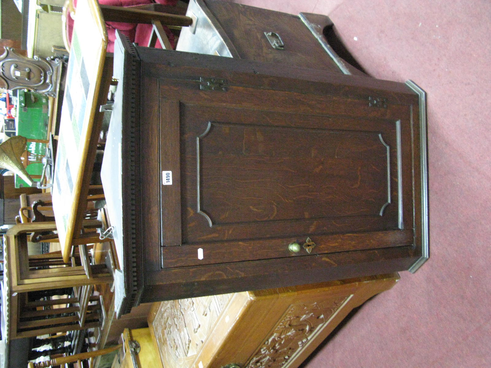Lot 1490 - A XIX Century Oak Corner Wall Cupboard, with dentil cornice and shaped inner shelves.