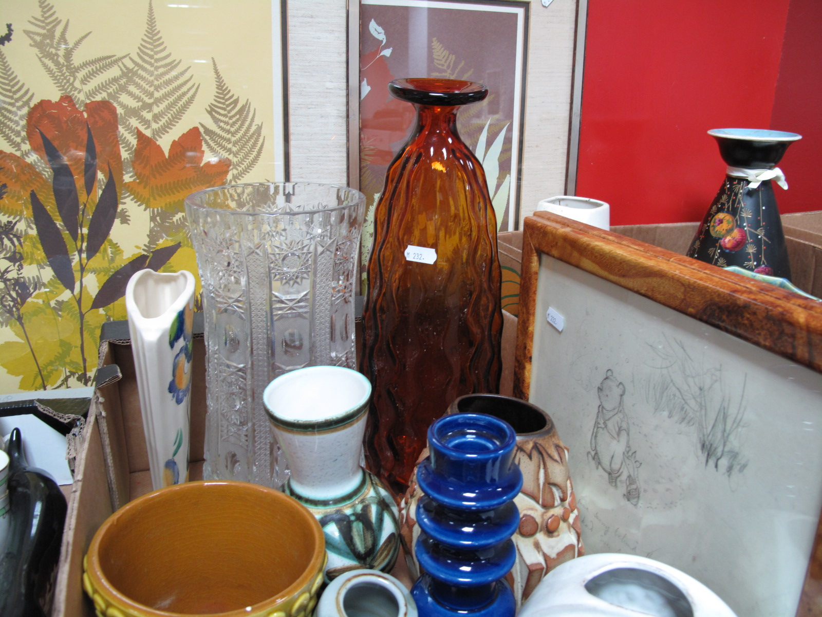 Lot 1013 - A Large Heavy Cut Lead Crystal Vase, of waisted form, 30cm, and amber glass vase, Fuster pottery