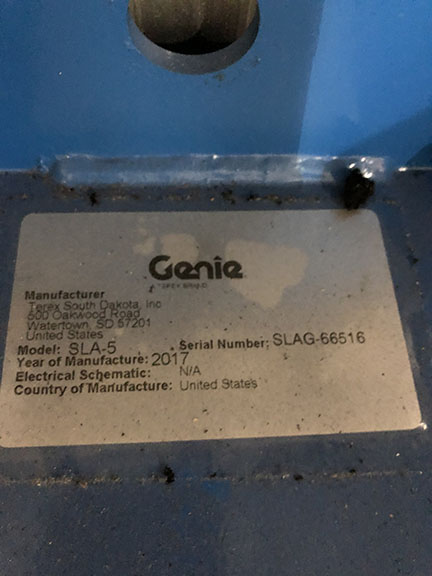 GENIE SLA-5 MATERIAL LIFT, SUPERLIFT ADVANTAGE, 1,000 LB. – 400 LB. LOAD CENTER DEPENDENT, - Image 5 of 5