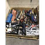 LARGE ASSORTMENT OF GREASE GUNS, HILTI MIX GUNS, EXPANDER WRENCHES, CLAMPS AND MISC.