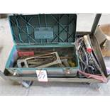 LOT - TOOLBOX FULL OF MISC SHOP TOOLS, SAWS, ETC.