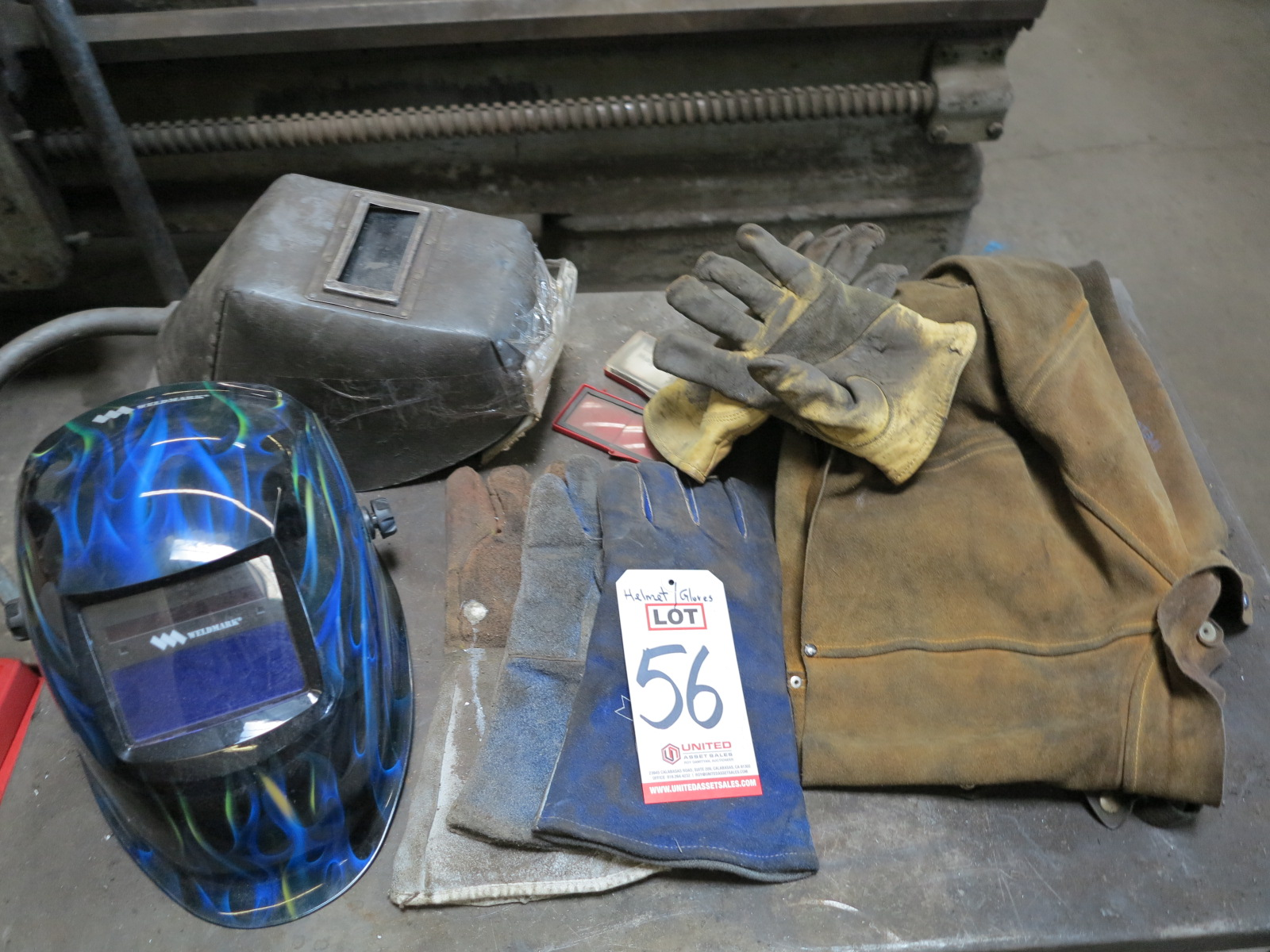 LOT - WELDING HELMETS, GLOVES, LEATHERS