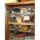 TWO-DOOR WOOD STORAGE CABINET AND CONTENTS WITH MISC. PARTS AND SUPPLIES
