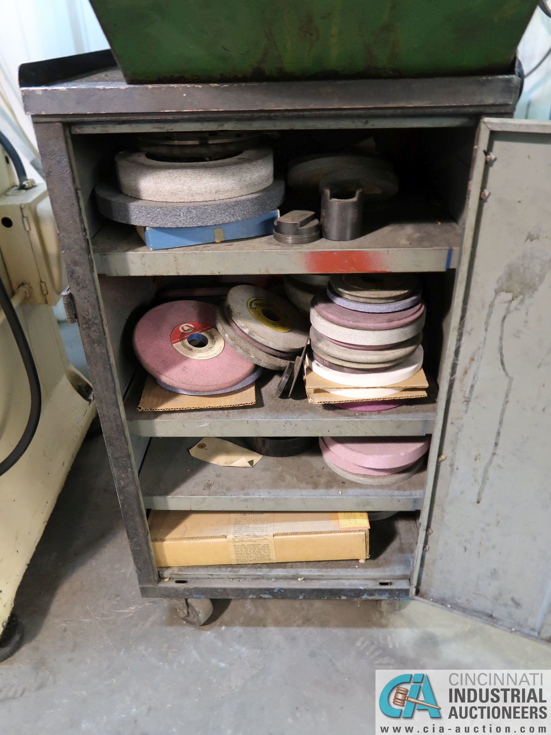 (LOT) MISC. GRINDING WHEELS WITH CABINET - Image 2 of 2