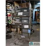 12 BIN PARTS RACK WITH (4) STACKABLE WIRE BASKETS