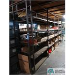 "RUNS 24"" X 20' LONG APPROX. X 96"" HIGH WELDED ANGLE IRON PARTS RACK WITH HEAVY DUTY WOOD TOP &"