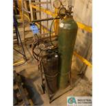 OXY-ACETYLENE CART WITH HOSE, GAUGES & CUTTING TORCH ** NO CYLINDER TANKS, PROPERTY OF AIRGAS **