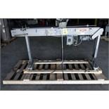 CONVEYOR, LEEDS 7', carbon belting steel, conveyor spd. w/motor controller, guardrails, 3.25 poly,