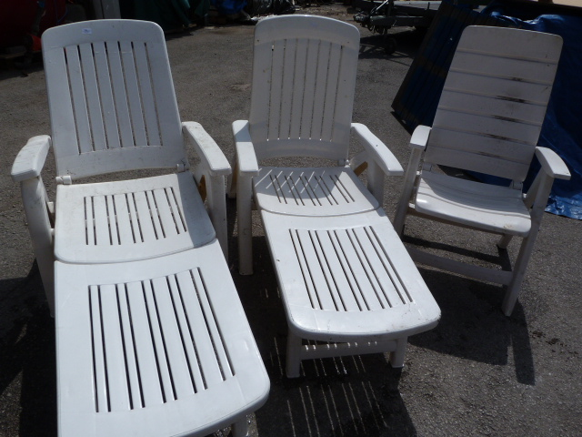 Lot 13 - Three Folding Plastic Garden Chairs