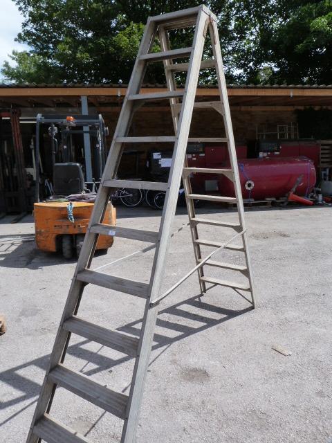 Lot 10 - Set of Nine Tread Double Sided Aluminum Step Ladders