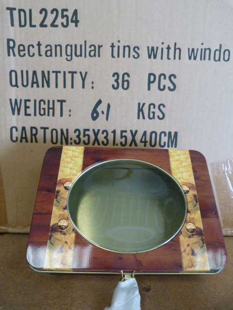 Lot 21 - Box of 36 Treasure Chest Tins with Windows and Key