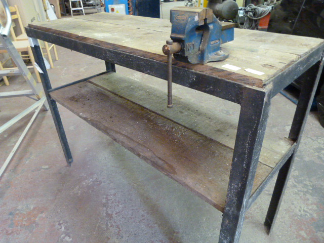 Lot 41 - Metal Framed Industrial Workbench with Record No1