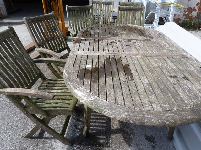 Lot 15 - Wooden Garden Table and Six Chairs