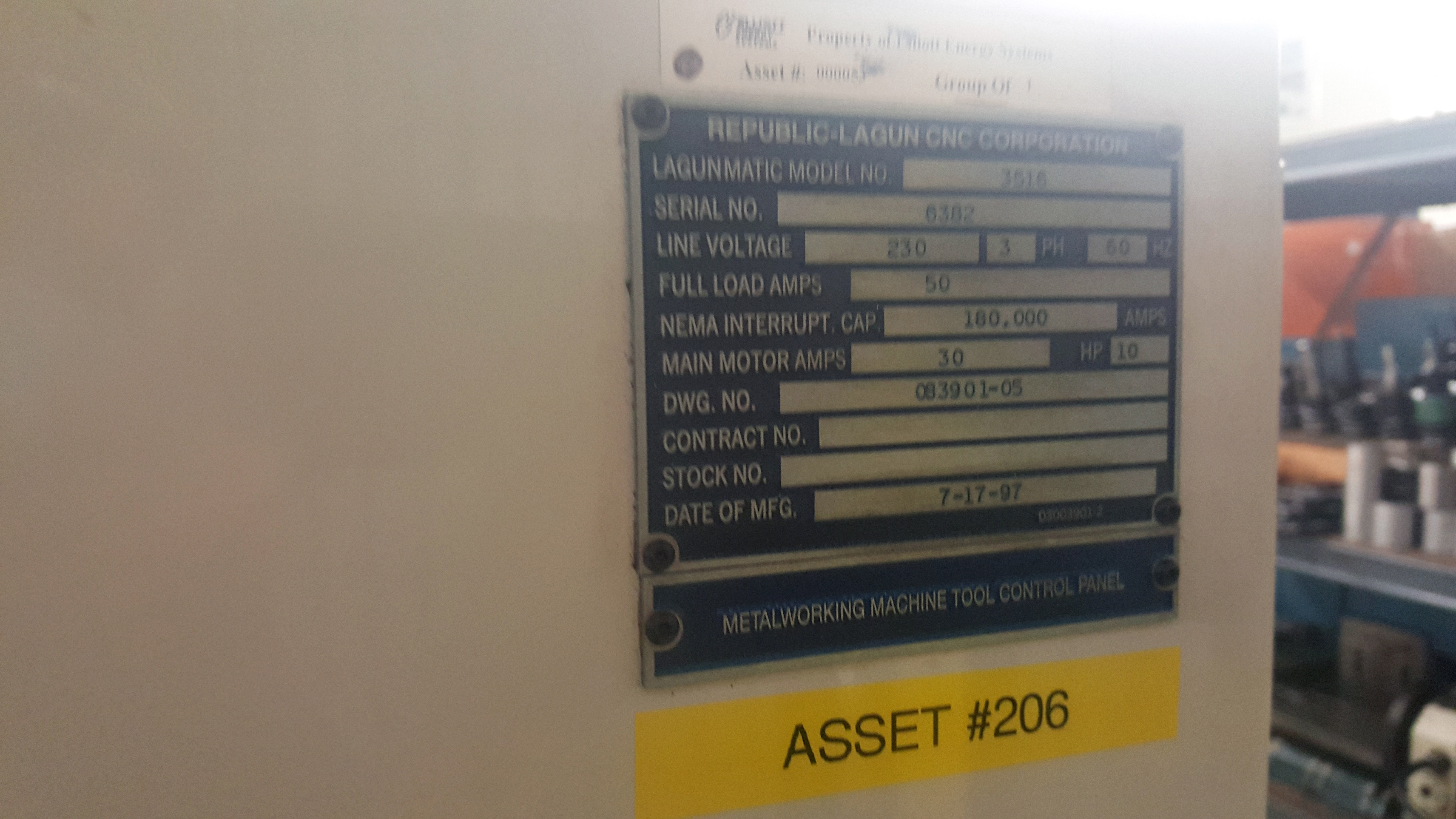 "Republic Lagun 4 Axis Model 3516 CNC Vertical Machining Center 16"" X 35"" table, 18 tools, 5000 - Image 5 of 6"