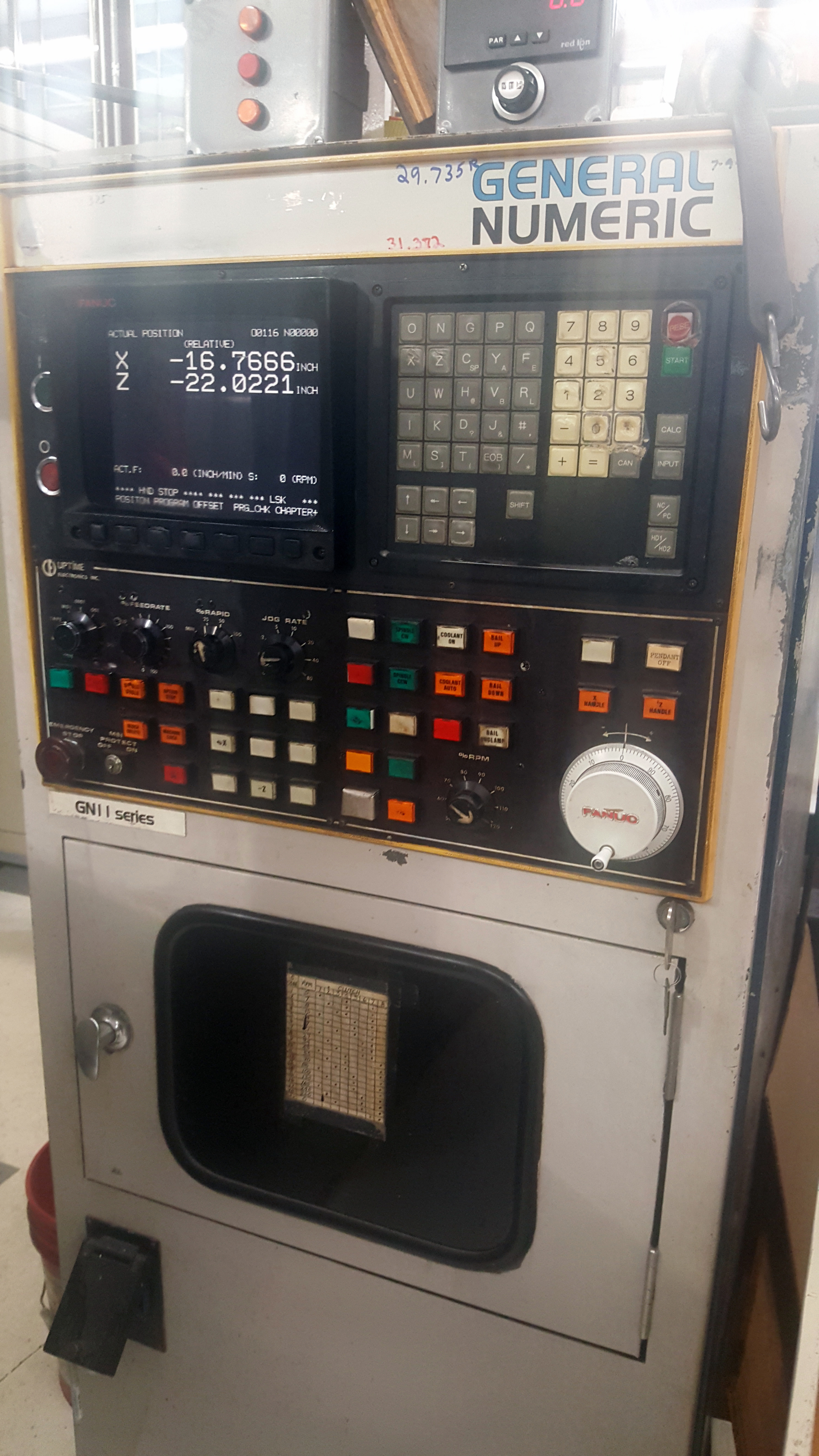 """Schiess 63"""" table CNC Vertical Turret and Boring Lathe, Fanuc control, 4 way tool block and 8 - Image 5 of 12"""
