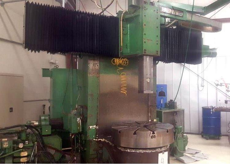 """Gray 42"""" table CNC Vertical Turing and boring lathe, Allen Bradley 8200 control, under power"""