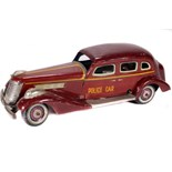 Tin Plate Toy Sedan - Japanese - 1920s Clockwork Police Car - Some wear & minor marks - L 30cm W