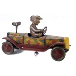 Tin Plate Silly Car - Japanese patchwork body - Clockwork - 1920s - some wear & marks - L 21cm W