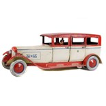 Tin Plate Toy Sedan Car - 'Lehmann Germany' - Clockwork - 1920s - some wear & marks - L 33cm W 12cm
