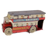 Tin Plate Toy Bus - 'Wells UK' - circa. 1940s - Clockwork London Double-Decker Bus - some wear &