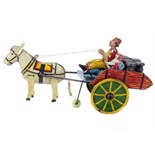 Tin Plate Toy - 'Lois Marx' (USA) - 'Hee Haw' horse cart & driver - Circa. 1940s - some wear & marks