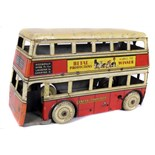 Tin Plate Toy Bus - 'Betal Productions UK' - Circa 1940s - Clockwork Double-Decker bus - some wear &