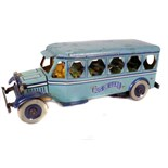 Tin Plate Toy Bus - 'Strauss USA' - Clockwork - '1927' - some wear & marks - L 36cm W 13cm