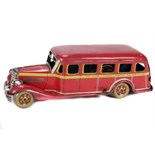 Tin Plate Toy Coach - Japanese - 1930s - 'Deluxe Coach Perth to Brisbane' - Clockwork - Circa